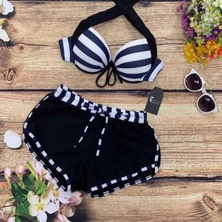 Bikini hai mảnh sọc đen trắng chất thun lạnh mặc đi biển