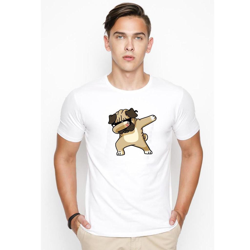 Áo thun nam in hình chó Pug Dabing dễ thương ( Trắng ) - Áo ngắn tay không cổ Áo ngắn tay không cổ