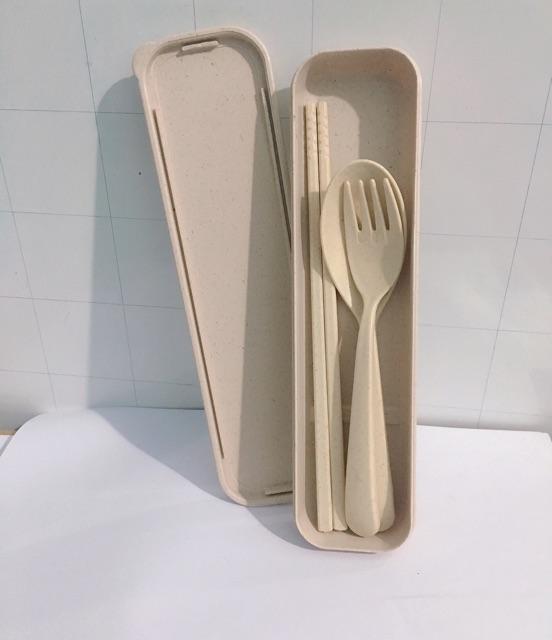 [HÌNH THẬT] Bộ muỗng đũa nĩa lúa mì kèm hộp