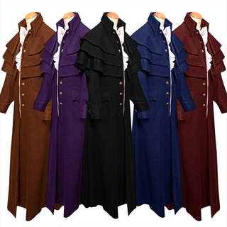 Retro Men's Medieval Steampunk Trench Coat Gothic Jacket Cosplay Costume