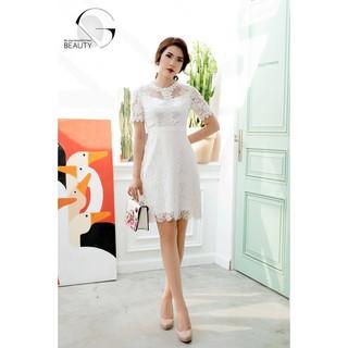 Đầm ren trắng cổ đính đá GB015 thumbnail