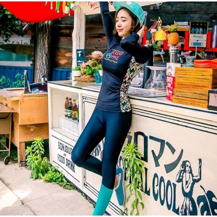 Đồ bơi Bikini dài tay quần dài phối sườn phong cách Hàn quốc | SaleOff247