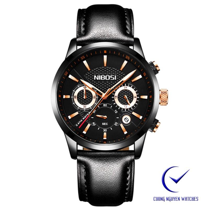 Đồng hồ nam dây da NIBOSI cao cấ đẳng cấp doanh nhân -NIB02DD-màu đen đồng
