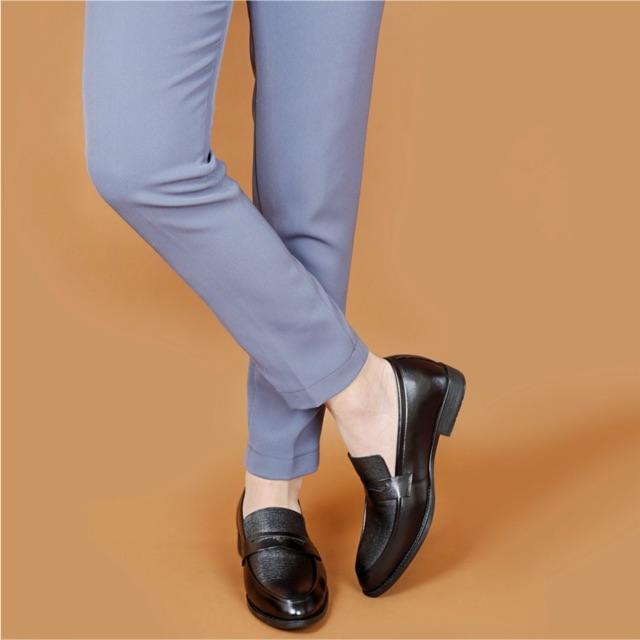Giày lười công sở tăng chiều cao da bò SmartMen GL04 đen