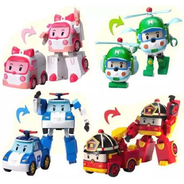 Bộ đồ chơi biệt đội 4 xe Robocar Poli biến hình 2 trong 1 - Đồ chơi lắp ráp cho trẻ