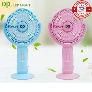 [Mã ELFLASH5 giảm 20K đơn 50K] Quạt sạc tích điện DP DP-7606 tích hợp đèn LED chiếu sáng - cầm tay hoặc để bàn