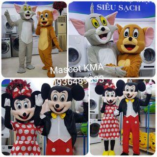 Quần áo hoá trang Mascot Chuột Mickey, Minnie đỏ – Đồ chơi nhân vật, nhập vai