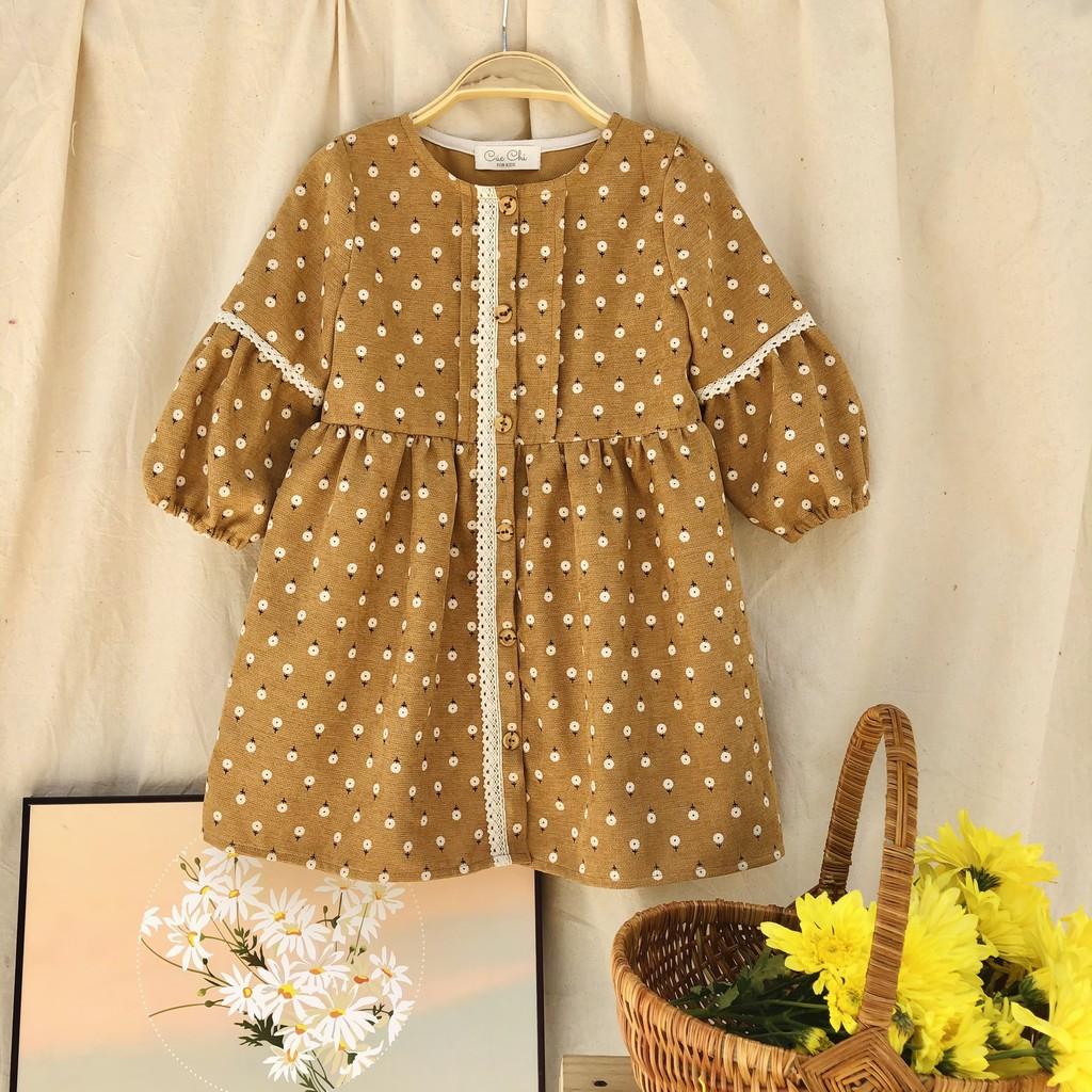 Đầm Bé Gái ⚜️ 5-14 tuổi ⚜️ Váy Trẻ Em Váy Nhung Hoa Thiết Kế Cao Cấp