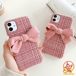 Warm Houndstooth Pink Butterfly Plsuh Phone Case for IPhone 11 Pro Max 7 8 Plus XS Max XR Winter Woolen Soft Back Cover