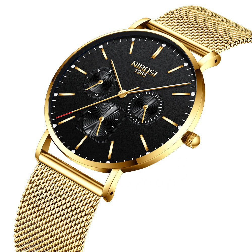 [Tặng vòng tay]Đồng hồ nam NIBOSI chính hãng NI2321-1.03 dây lưới không gỉ