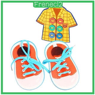 [FRENECI2] Learn to Tie Shoes Shoe Tying Teaching Kit Tie Educational Toys Children Wooden Toys Toddler Lacing Early Education Montessori Toy Set