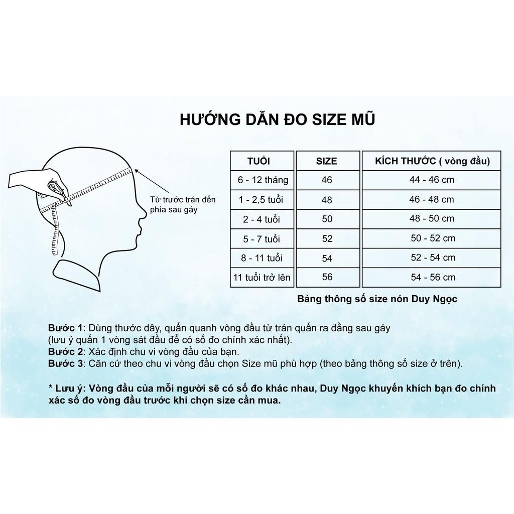 Nón Kết Bé Trai Có Khăn Che Bụi Caro vip 2 Tai Cao Cấp Duy Ngọc Size 46 Dành Cho Bé Dưới 18 Tháng Tuổi. (0551)