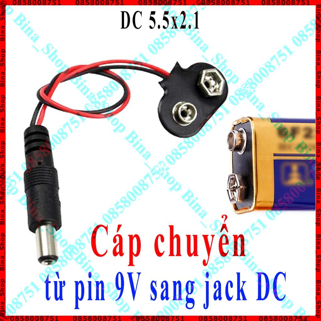 Cáp chuyển đổi từ pin 9V sang jack DC 5.5x2.1 dài 15cm