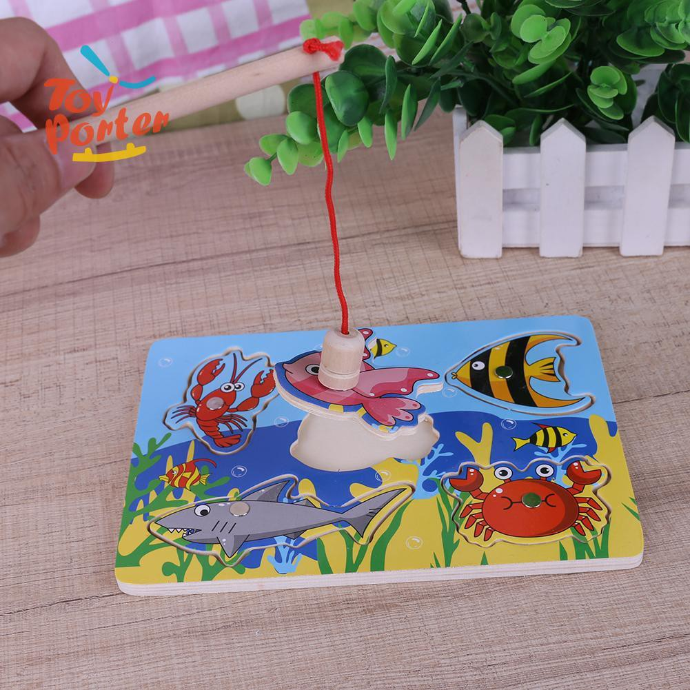💞Baby Kids Wooden Magnetic Fishing Game 3D Jigsaw Puzzle Educational Toys💞