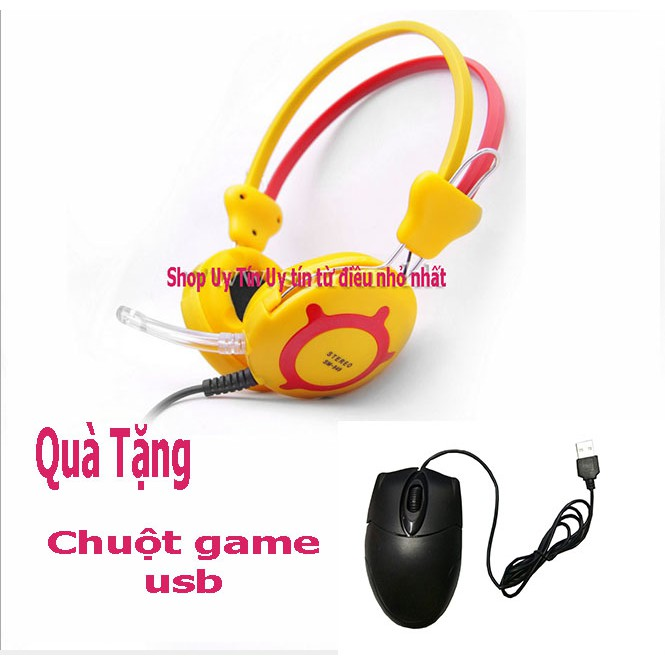 Tai nghe chụp tai SM-849 kèm Mic (Vàng) + chuột quang usb