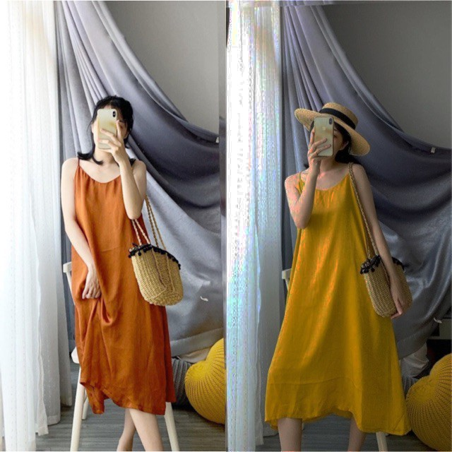 Mặc gì đẹp: Dễ chịu với Đầm Bầu Chất Đũi Hai Dây Váy Dài Dáng Maxi Trơn Siêu Đẹp