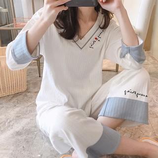 Bộ Đồ Ngủ Hai Mảnh Tay Dài Cổ Chữ V Bằng Lụa Sữa Thời Trang Hàn Quốc 2020 Cho Nữ