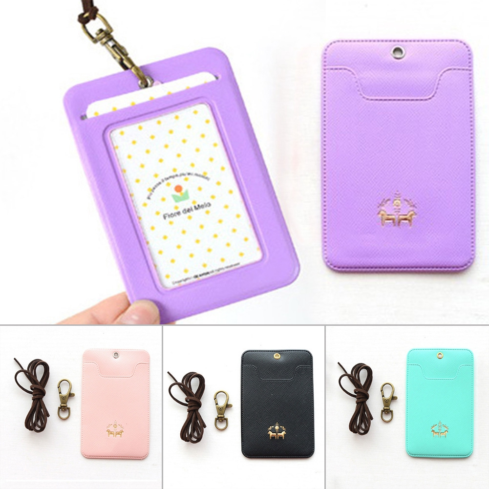 PU Leather Lanyard Women Card Case Holder Portable String Fashion ID Bus Identity Badge with Porte Carte Credit