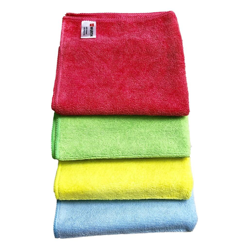Khăn lau xe wurth microfiber towel 400g (đỏ/vàng/xanh lá/xanh da trời) màu Random 40x40cm