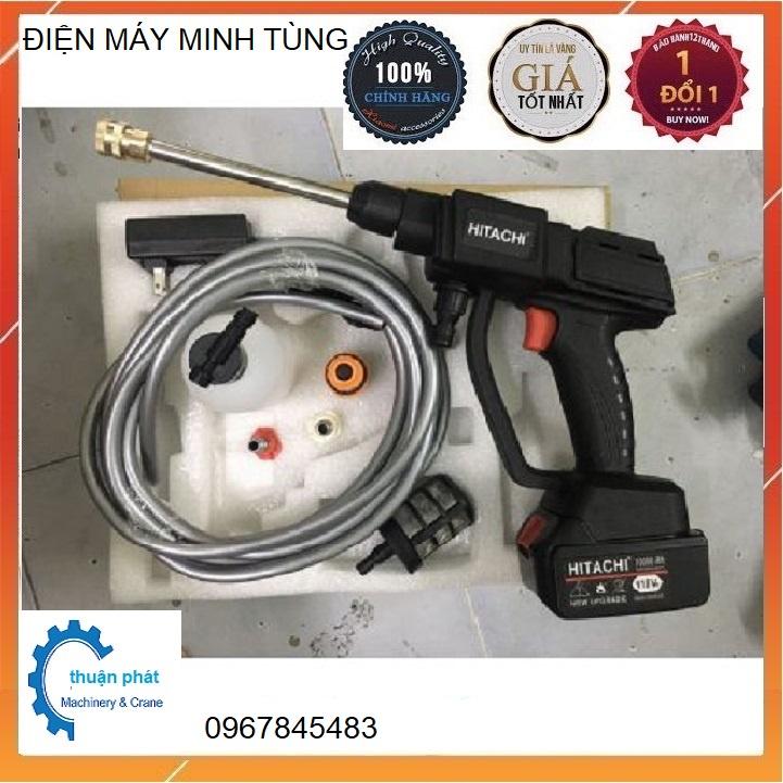 Máy rửa xe dùng pin mini, Máy xịt rửa tăng áp Hitachi 199V áp lực cao 1400W [Tặng bình tạo bọt]