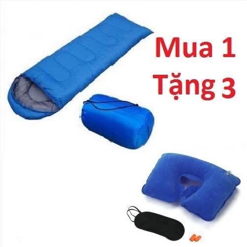 Túi Ngủ Du Lịch (Xanh Dương) + Tặng Kèm Gối + Bịt Mắt + Bịt Tai