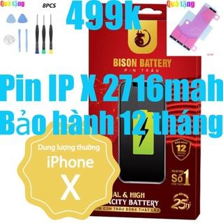 Pin iPhone X Con Trâu BISON 2716mAh chính hãng thumbnail