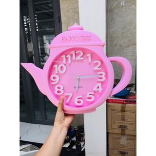 Đồng hồ treo tường hình ấm trà hồng 45*38*5cm