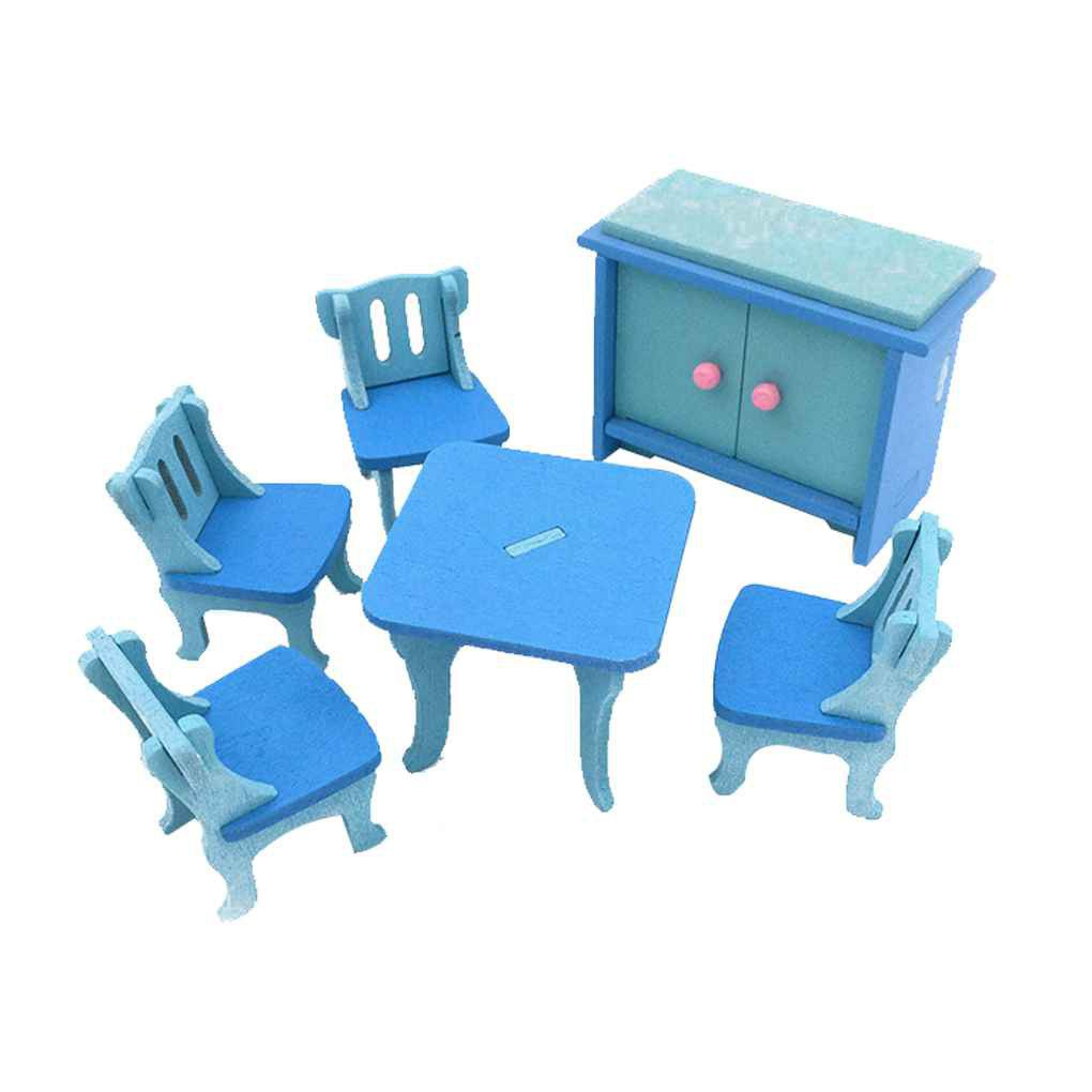 Simulation Baby Wooden Toys Miniature Furniture House Set Room Kitchen Tabl_FF86