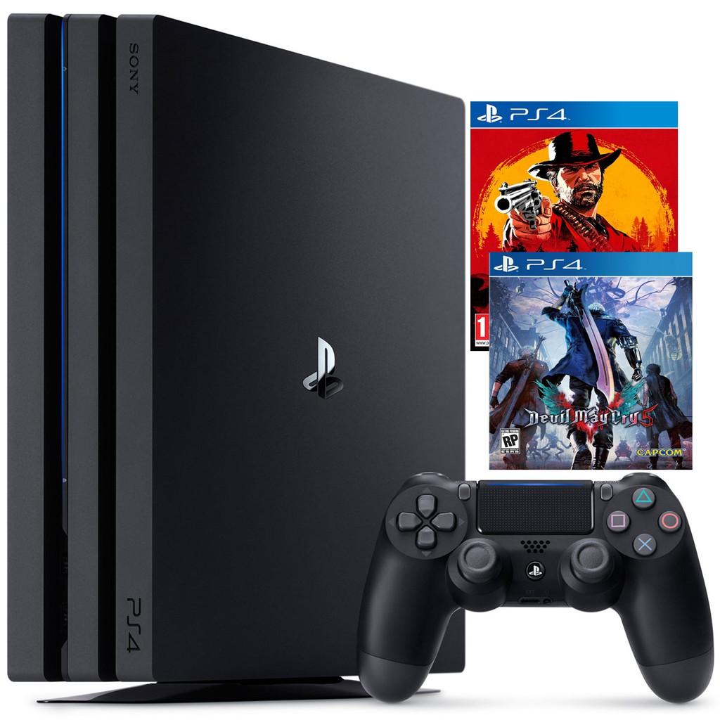 PS4 Pro 1TB Kèm 2 Game Đỉnh Nhất 2018-Red Dead Redemption 2-Devil may Cry 5-New- BHChính Hãng
