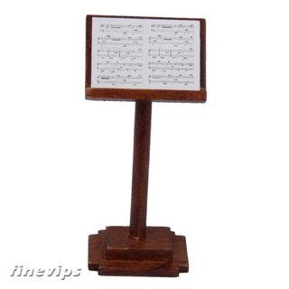 1/12 Dollhouse Wooden Miniature Phonograph Record Player and Music Stand