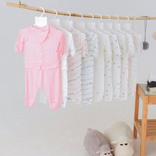 Bộ quần áo dài tay sơ sinh Bamboo by LIL cài thẳng vải xô thumbnail
