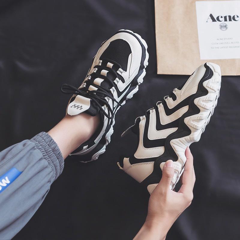 Giày sneaker nam thể thao Đế sóng nút buộc dây phản quang siêu đẹp
