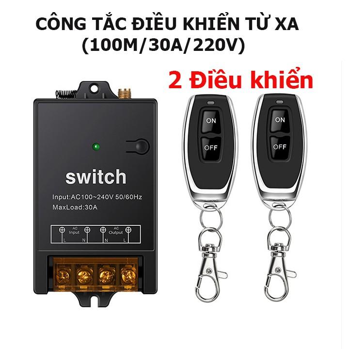 [ 2(hai) ĐIỀU KHIỂN MẪU MỚI 2021 ] Công tắc điều khiển từ xa 100m/30A/220V bật tắt từ xa máy bơm nước máy rửa xe