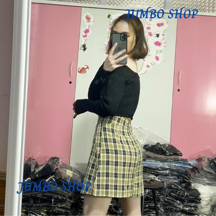 Chân Váy Chữ A, Chân Váy Lưng Cao Họa Tiết Caro Màu Kẻ Nâu Thời Trang Cho Nữ - JumBo