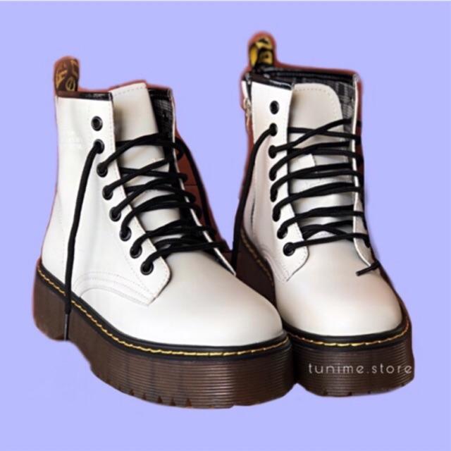 (CÓ SẴN TRẮNG - Video, Ảnh thật) Giày Basic Boot Ulzzang DR Cao Cấp đế 5p sườn khoá zip