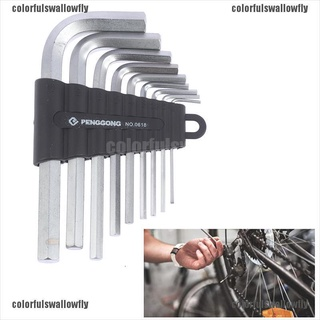 Colorfulswallowfly 9PCS L-shape Hex key Set Torx Star Hex Wrench Tool Set with Holes Hardware Tool CSF