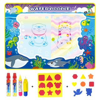 110x80cm Water Drawing Mat & 3 Magic Pens & 1 Brush & 2 EVA Stamp Kids Doodle Painting Toys