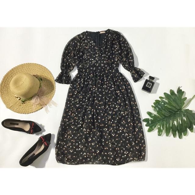 🌼 Đầm hoa maxi phong cách vintage tay bo