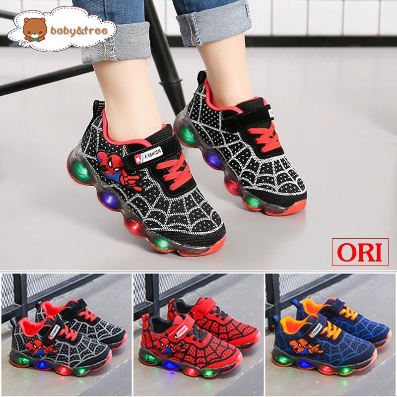 Giày thể thao có đèn LED họa tiết người nhện cho bé size 21-36