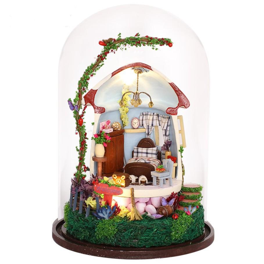Mô hình nhà búp bê xoay phát nhạc trong lồng chụp mica - Mushroom House