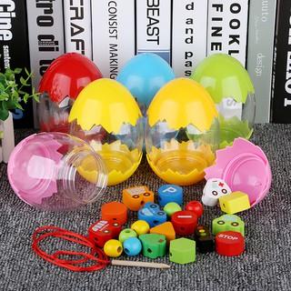 Kids Beads Toys Dinosaur Egg Wooden DIY Educational Toys Recognition Toys