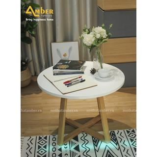 Bàn sofa - bàn trà tròn gỗ chân X thấp - phòng khách, phòng ngủ