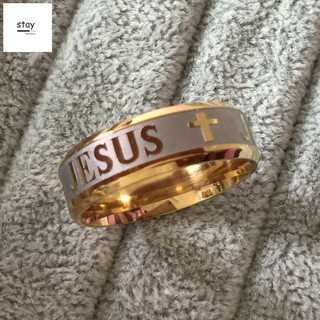 Wedding Band High quality large size 8mm 316 Titanium Steel 18K silver gold plated jesus cross Lette