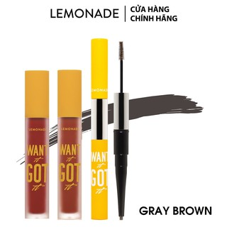 Combo Lemonade Want It Got It 02 son kem lì và 01 chì mày #03GrayBrown (5g x2 + 4g)