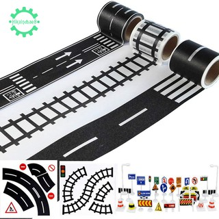 🐼 for Toy Cars 3 Rolls 4.8cmx5m Straight Curve Track Traffic Signs