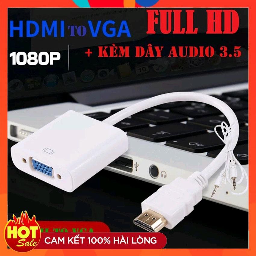 [Hàng xịn] Cáp chuyển đổi HDMI sang VGA kèm dây audio 3.5-Bộ đầu chuyển cổng HDMI ra VGA giắc HDMI to VGA,dây máy chiếu