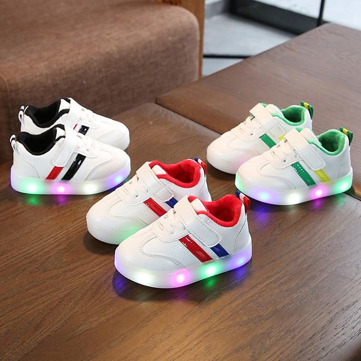 Giày thể thao cho bé trai bé gái có đèn 2 sọc