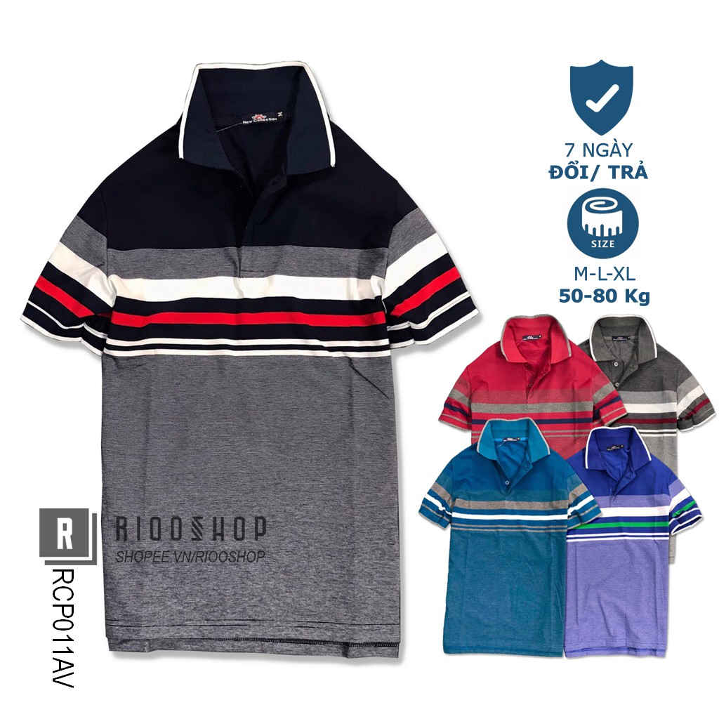 Áo polo nam sọc ngang form rộng chất cotton dày mịn NEW cực đẹp RCP011AV - áo thun nam trung niên Riooshop
