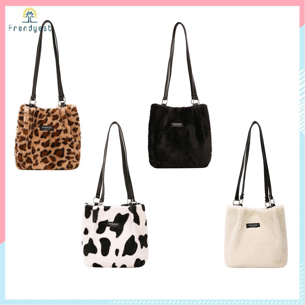 Túi vải lông đeo vai họa tiết tùy chọn sức chứa lớn thời trang cho nữ