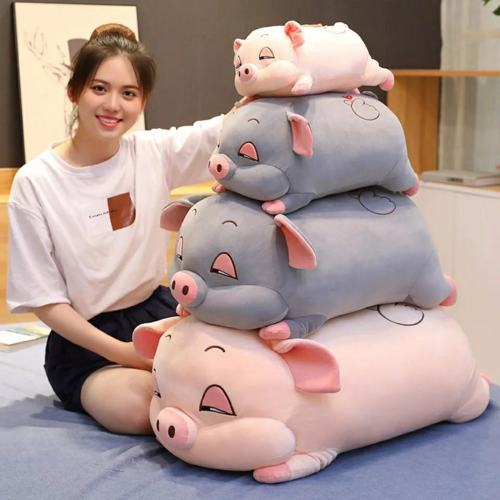 Gấu bông heo hồng, heo ngủ gật, heo mắt hồng,heo mắt híp chất liệu minixo 4 chiều size 30cm – 1m